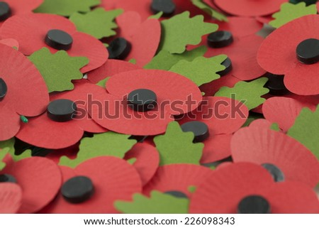 A Tray of Paper Poppies for Remembrance Day - stock photo