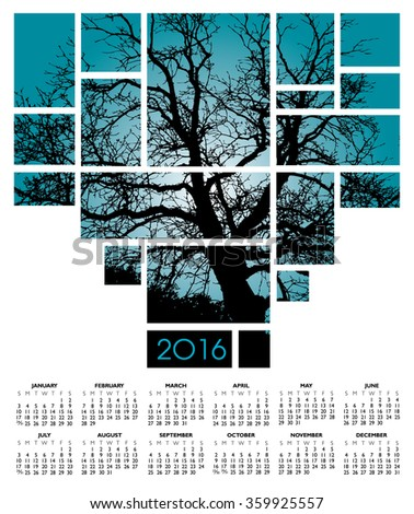 A 2016 tree and nature calendar - stock photo