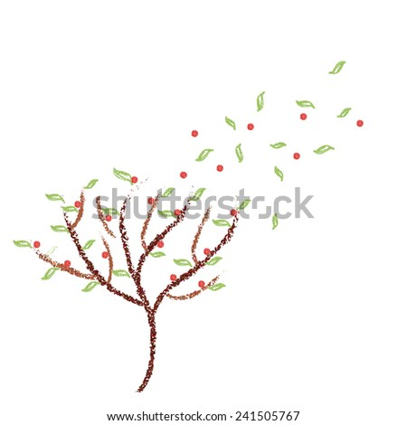 A tree in the strong wind - stock photo