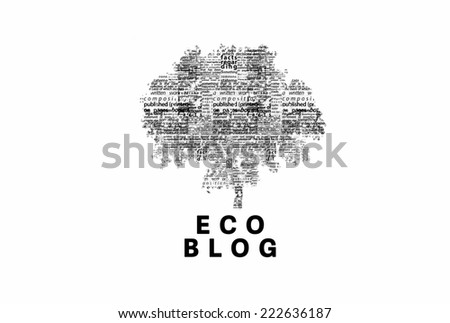 "A tree made of black words on a white background with ""Eco Blog"" as a title - word could   - stock photo"