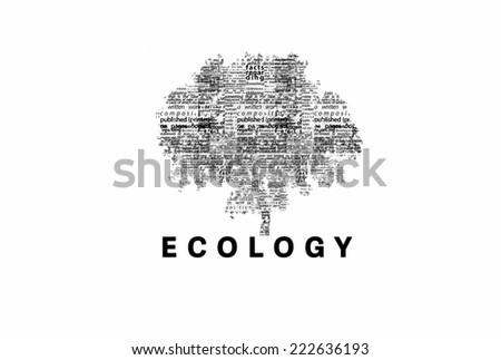 "A tree made of black words on a white background with ""Ecology"" as a title - word could   - stock photo"