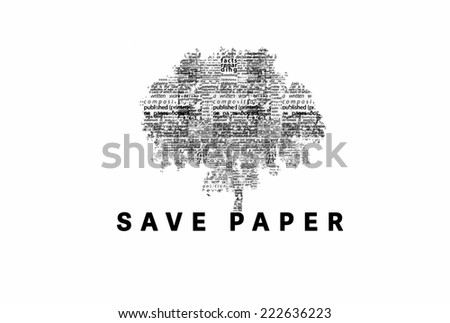 "A tree made of black words on a white background with ""Save Paper"" as a title - word could   - stock photo"