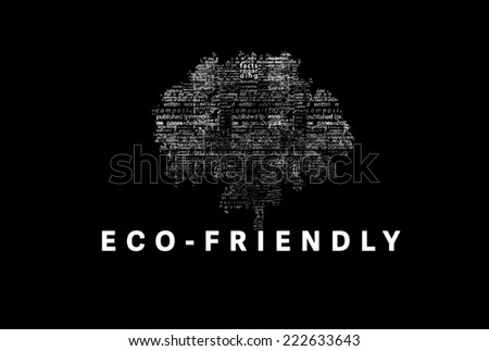"A tree made of white words on a black background with ""Eco-Friendly"" as a title - word could  - stock photo"