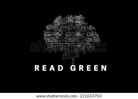 "A tree made of white words on a black background with ""Read Green"" as a title - word could  - stock photo"