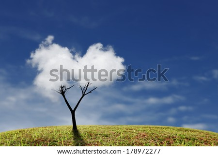 A tree with clouds as foliage on top of a green grassy hill against a blue sky.  - stock photo