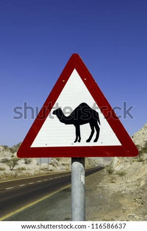 A triangular road warning sign with camel in Dubai, United Arab Emirates - stock photo