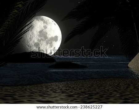 A tropical beach at night moonlight under starry sky, with palm trees. - stock photo
