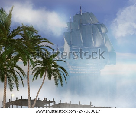 A tropical island background with a pirate ship. - stock photo