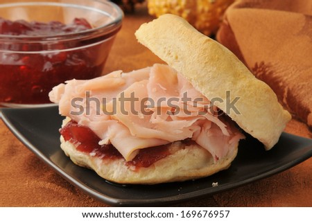 A turkey sandwich on a fresh baked biscuit - stock photo