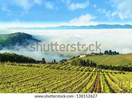 A Tuscan landscape at the beginning of the day, with the foreground the vineyards that produce one of the most prestigious wines in the world. - stock photo