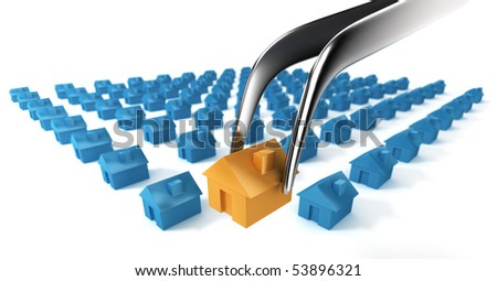 A tweezers selects a unique residential building. - stock photo