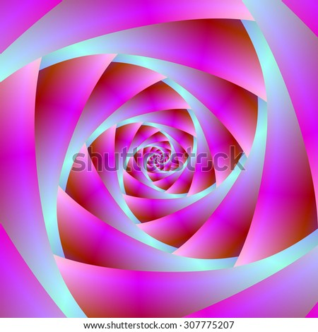 A Twist of Blue and Pink / A digital abstract fractal image with a spiral design in blue and pink. - stock photo