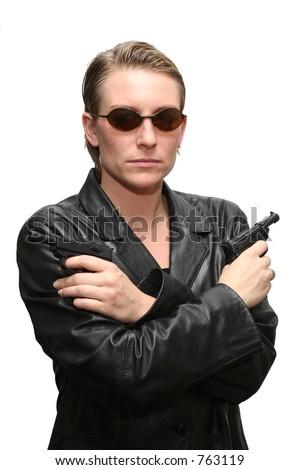 A two gun pose - stock photo