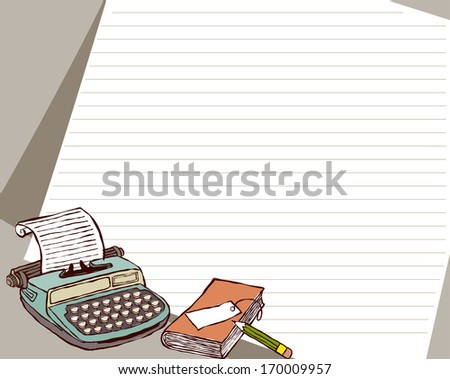A typewriter, journal, and pencil sitting in front of a sheet of notebook paper. - stock photo