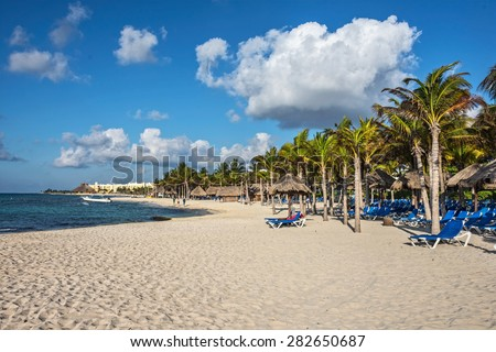 A typical Caribbean resort at Playa Del Carmen in Mexico. - stock photo