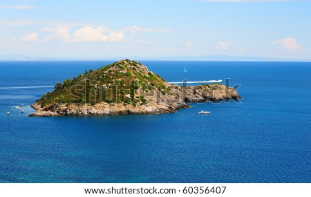 A Typical Island in Tyrrhenian Sea With Hills And Indented Coastline - stock photo