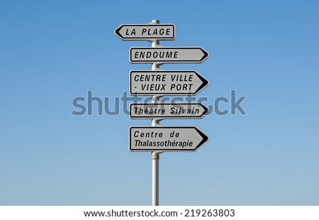 A typical road sign of landmarks in Marseille in South France - stock photo