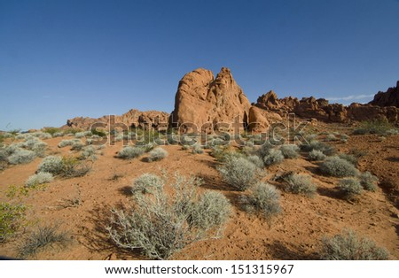 A typical rock outcropping, the result of the weathering of the red sandstone mesas, pinnacles and spires of the Valley of Fire State Park near Las Vegas, Nevada is seen in the early morning light. - stock photo