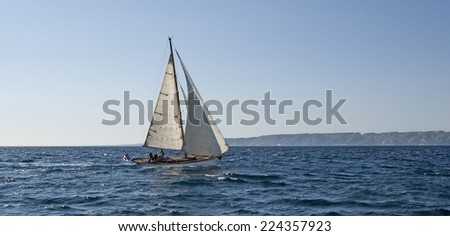 A typical sailing ship near Marseille in South France - stock photo