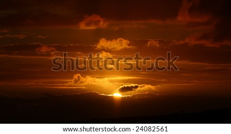 A typical South African sunset in the East Cape. - stock photo