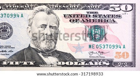 A U.S. fifty 50 Dollar Bill close up of Grant. - stock photo