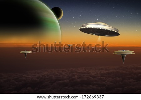 A UFO flies over floating cities on an alien world. - stock photo