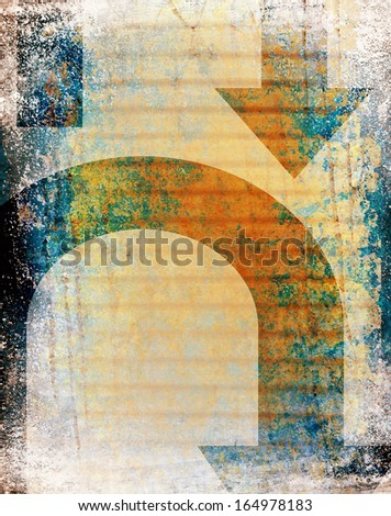 a unique design with bright colors and shape overlays on textured background - stock photo