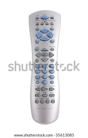 A Universal Television Remote isolated on white.  This silver remote can control your VCR, DVD, TV, CD Changer, AM FM Radio, Satellite, and Cable.  Includes clipping path - stock photo