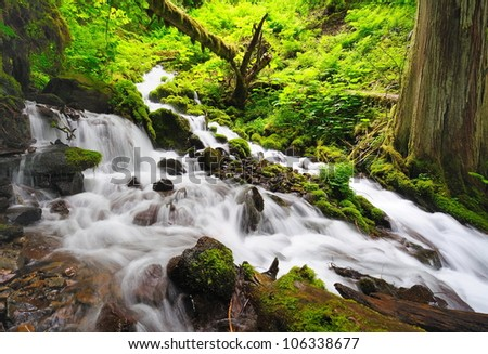 A unknown falls in the way of fairy falls - stock photo