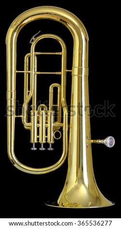 A used brass baritone on a solid black background. - stock photo