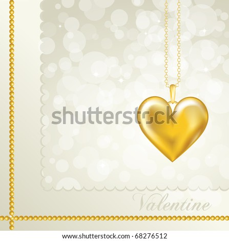 A Valentine card with a gold heart locket. Neutral background color. Also available in vector format. Space for your text. - stock photo