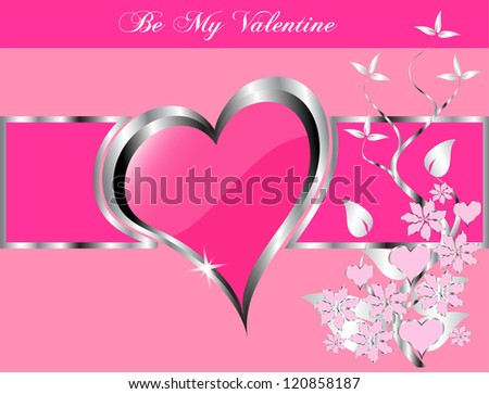 A valentines background  a large central hearts on a pink background - stock photo