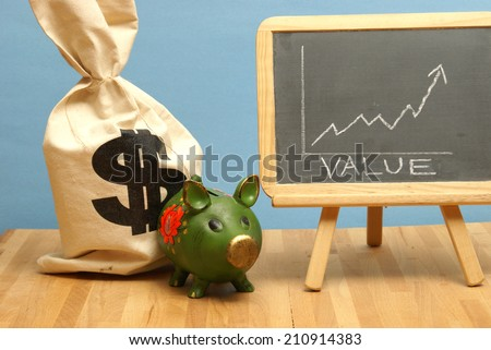 A value increase for this statistical data report. - stock photo