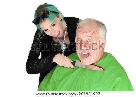 A vampire girl with black eyes and blue hair cuts the throat of her latest victim with a kitchen butcher knife. Isolated on white with room for your text. - stock photo