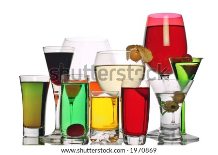 a variety of alcoholic drinks - stock photo