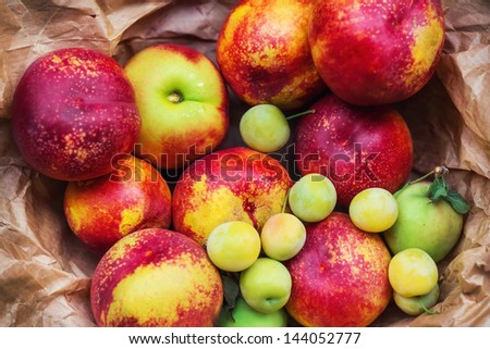 A variety of colorful fruits, shallow dof - stock photo