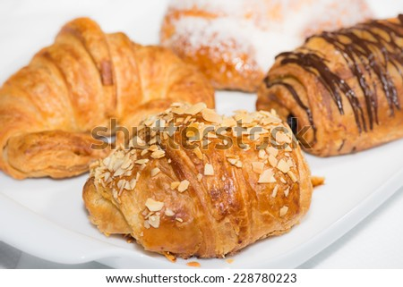 A variety of croissants close up - stock photo
