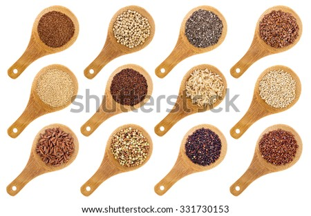 a variety of gluten free grains and seeds (buckwheat, amaranth, brown rice, millet, sorghum, teff, black, white and black quinoa, chia and flax seeds) - wooden spoons isolated on white - stock photo