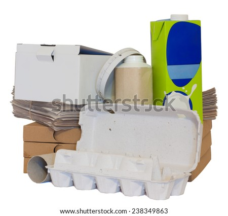 A variety of recyclable paper objects isolated on white. - stock photo
