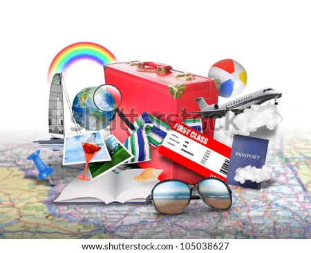 A variety of vacation icons like a suitcase, photographs, ticket, airplane and more are on top of a map. Use it for a tourist or getaway concept. - stock photo
