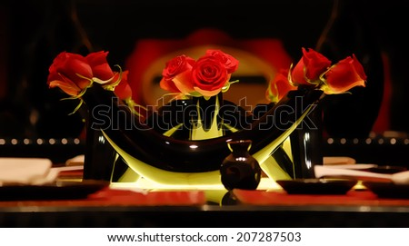 A vase of red roses, illustration - stock photo