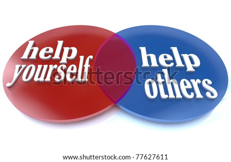 A venn diagram shows two intersecting circles, demonstrating the benefits that you and others can experience by donating your time and efforts to a worthy cause - stock photo