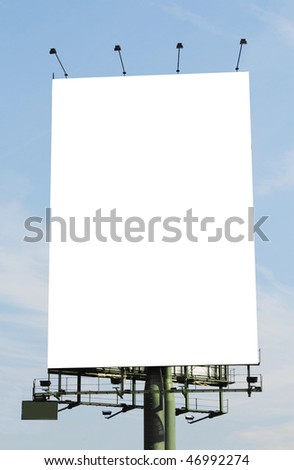 A vertical blank billboard. Clipping paths included. - stock photo