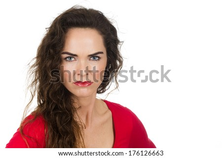 A very annoyed angry and irritated woman. Isolated on white. - stock photo