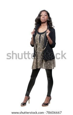 A very beautiful African American black woman teenager - stock photo