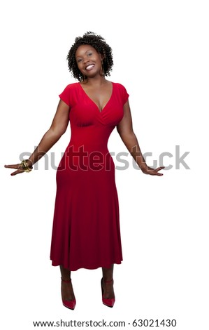 A very beautiful African American woman with a big smile - stock photo