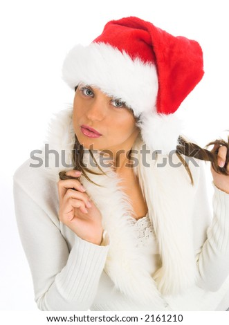 A very beautiful  Mrs. Santa Claus - stock photo