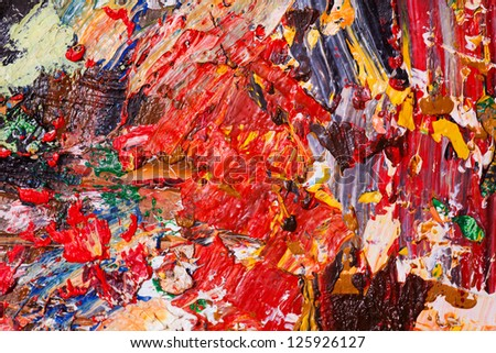 A very bright mix of colors mixed on a wooden plate . Macro 1:1 shot. - stock photo