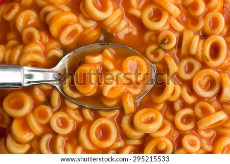 A very close view of canned round spaghetti pasta with tomato sauce in a spoon illuminated by natural light. - stock photo