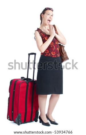 A very happy passenger with sunglasses and baggage on a white background - stock photo